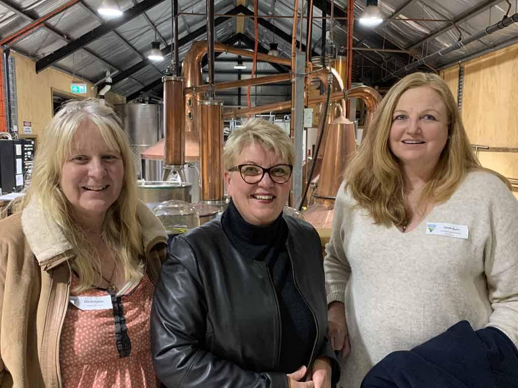 Lisa  Britzman Hazel MacTavish-West and Sarah Gunn at Shene Distillery for Agritourism